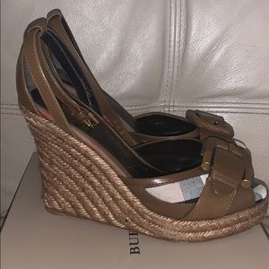 Burberry Leather Canvas Espadrille Ankle Wrap